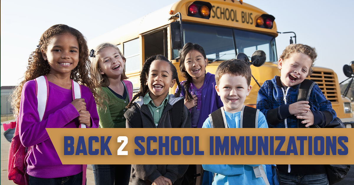 image of a group of youngs kids in front of a school bus with the words back to school immunizations.